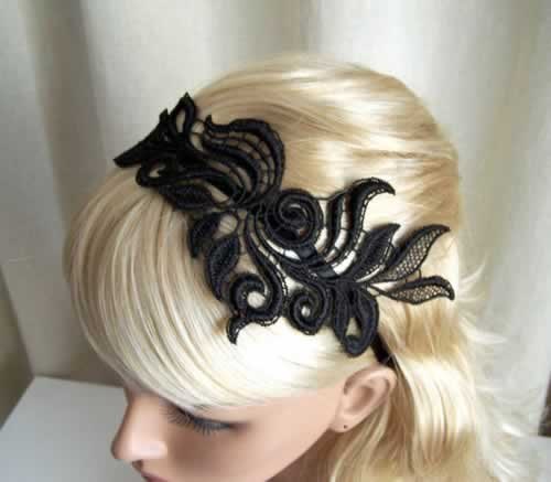 Haarband in zwarte kant