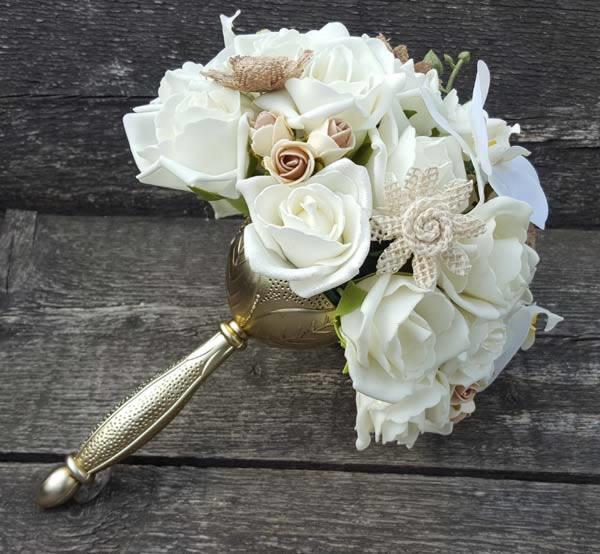 Zijden bruidsboeket wit