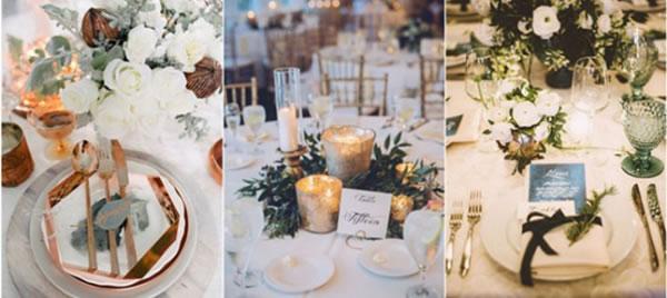Tafeldecoratie bruiloft kerst