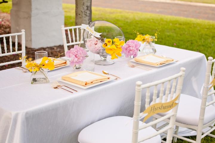 Roze geel thema bruiloft