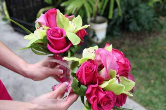 Bruiloft kleuren fuchsia limegroen
