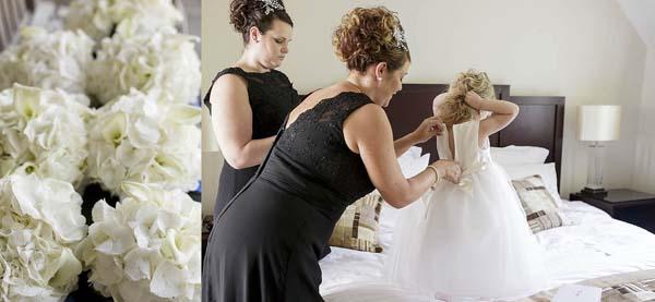 Moeder van de bruid helpt