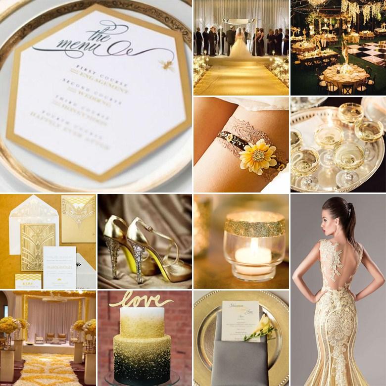 Ivoor met goud thema bruiloft