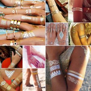 Gouden en zilveren tattoos voor de bruid