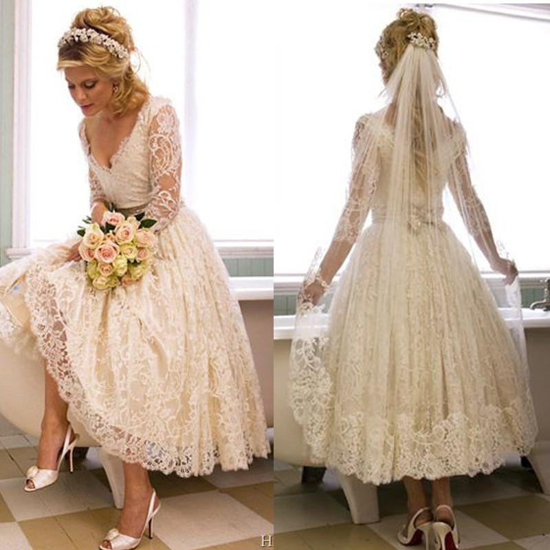 Bruidsmode tealengte trouwjurken