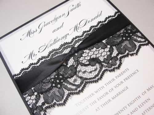 Zwarte kant voor een vintage bruiloft