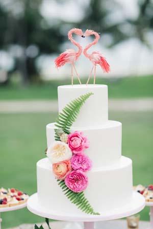 bruidstaart met flamingo