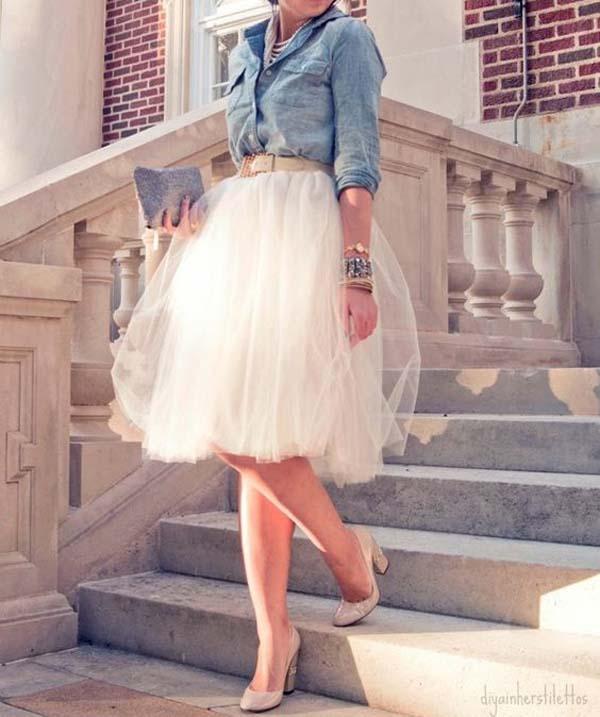 Korte trouwjurk met jeansjasje
