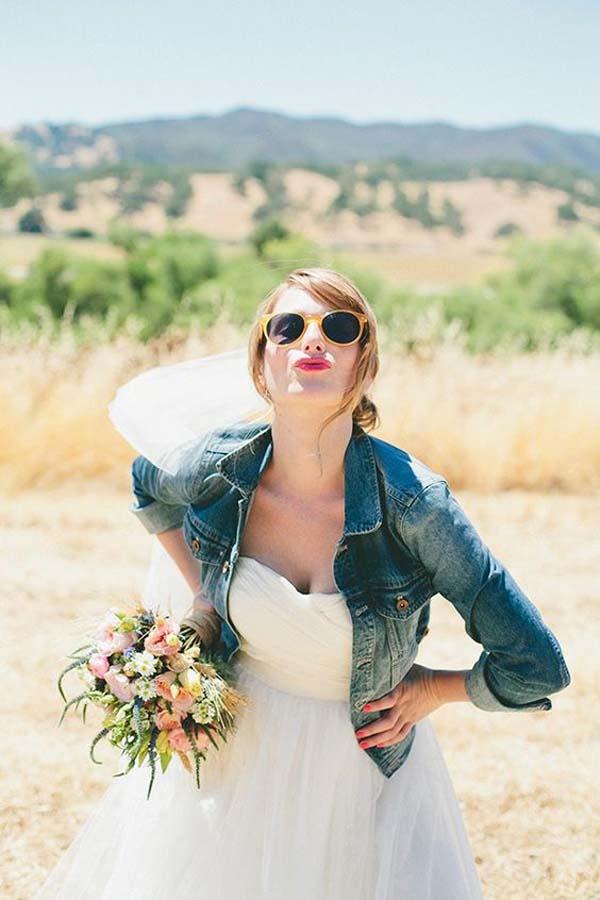 jeansjasje bruid met sluier