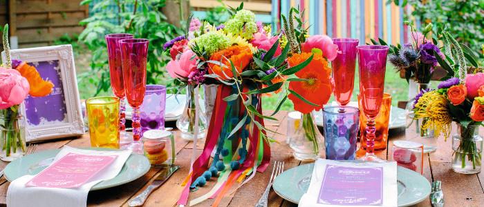Kleurrijke bruiloft styling ideeën
