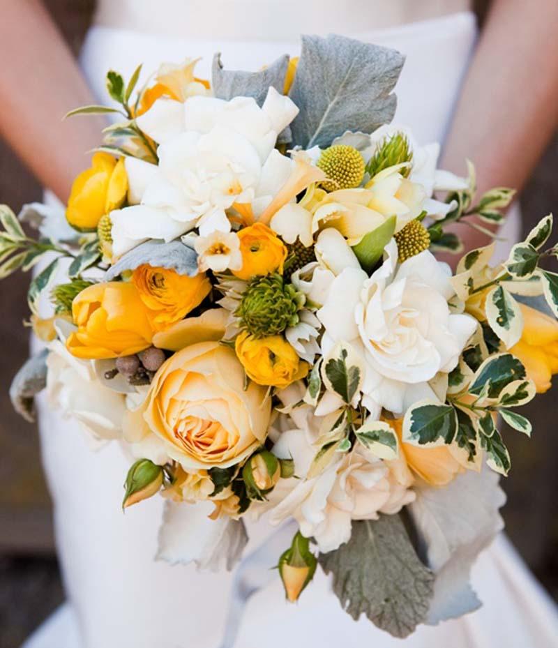 gele bruidsboeketten