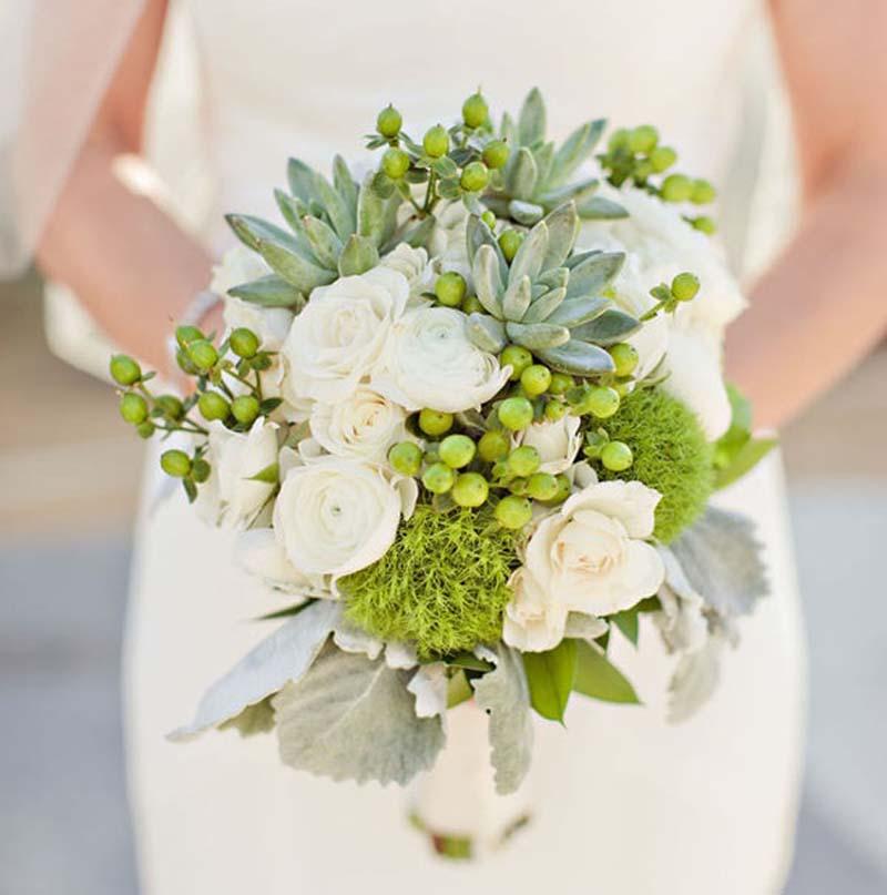 Groene bruidsboeketten