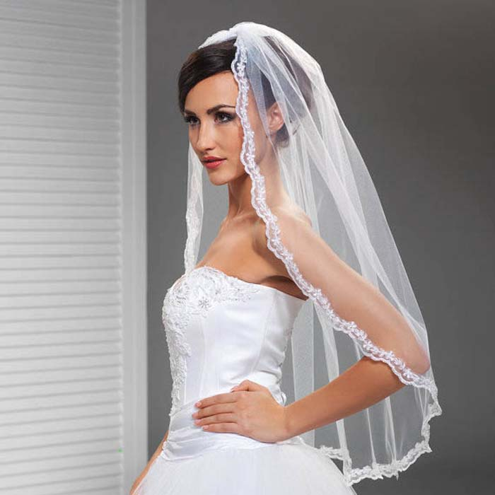 Elleboog lengte bruidssluier