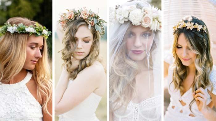 Bruidssluiers en bloemenkroon simpele trouwjurk