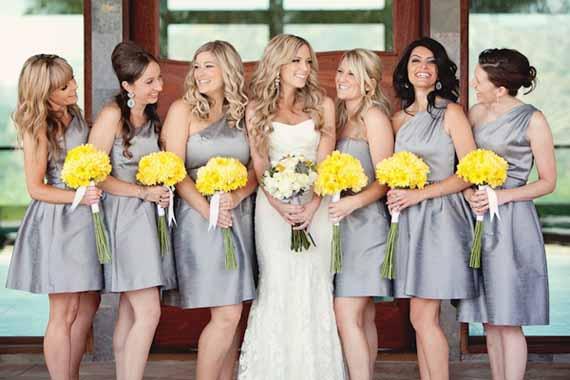 Geel grijs thema bruiloft
