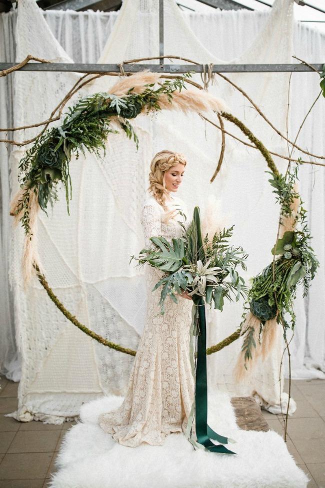 Draperen boog cirkel decoratie bruiloft