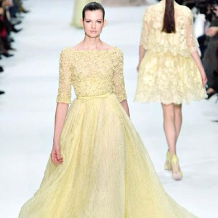 Gele trouwjurk Vera Wang