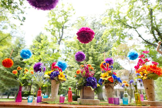 Kleurrijke buiten bruiloft