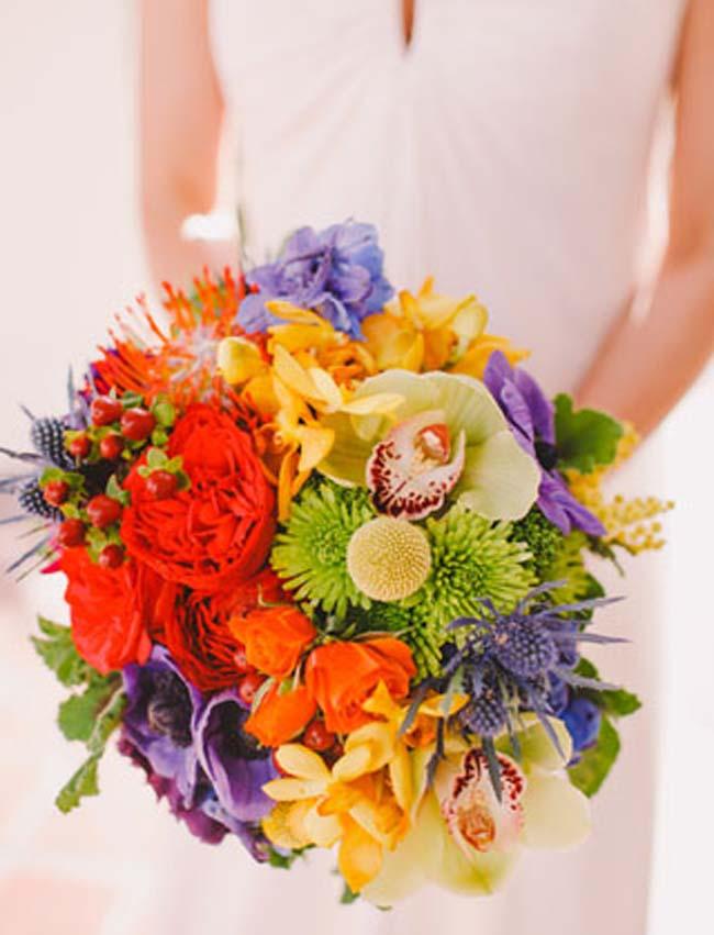 Kleurrijk bruidsboeket