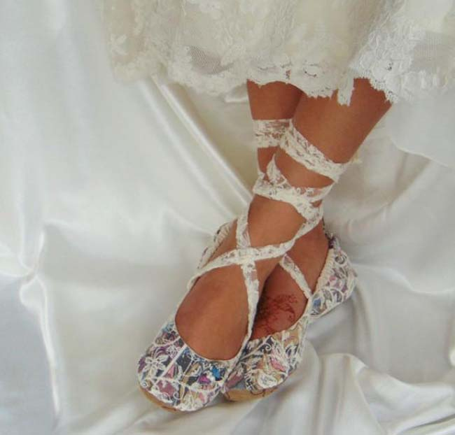 Platte schoenen voor de bruid