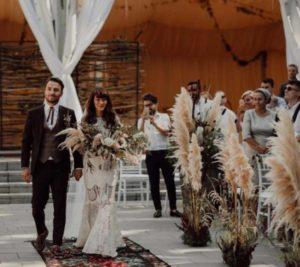 Bruiloft september decoraties met pampasgras